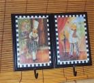 Wall Plaque Fat Chef Pictures Hooks Chefs Decor set of #42