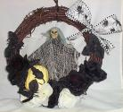 Halloween Wreath Pumpkin Skelton Flowers Rats Spiders Door Wreath Fall #2