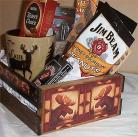 Moose Hunters Wood Crate Gift Basket Coffee Mug Cookies Candy Nuts Cards Jerky