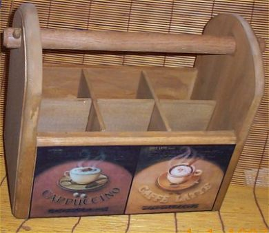 Wood Utensil Holder Coffee Latte Deluxe Cafe Home Decor