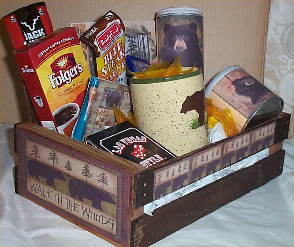 Bear Hunters Wood Crate Gift Basket Coffee Mug Cookies Candy Nuts